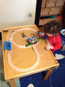 Today's blog brought to you by a wooden train set that delighted my toddler. Thanks to my sister for saving her kid's awesome train collection for us!